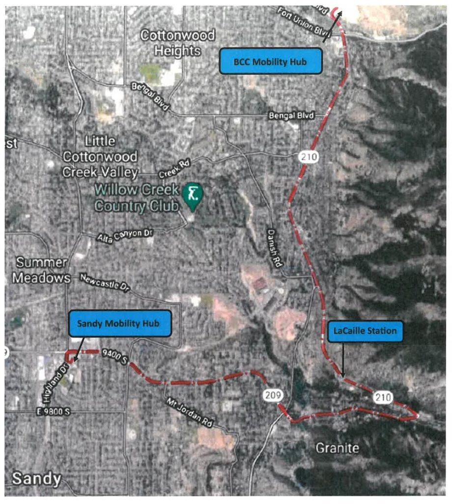 Proposed UTA route 973 from Sandy Mobility Hub to LaCaille Station and Big Cottonwood Mobility Hub